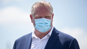 Ontario Premier Doug Ford attends press availability in Markham, Ontario, on Friday July 24, 2020. THE CANADIAN PRESS/Chris Young
