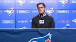 Toronto Blue Jays GM Ross Atkins delivered an optimistic outlook Friday on injured closer Ken Giles. Ross Atkins, general manager of the Toronto Blue Jays, speaks to the media during the end-of-the-season press conference in Toronto on Tuesday, Oct. 1, 2019. THE CANADIAN PRESS/Nathan Denette