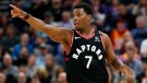 FILE - In this March 9, 2020, file photo, Toronto Raptors guard Kyle Lowry (7) directs his team during the first half during an NBA basketball game against the Utah Jazz in Salt Lake City. The defending NBA champions enter the NBA restart sitting second in the Eastern Conference.