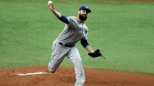 Toronto Blue Jays' Matt Shoemaker pitches to the Tampa Bay Rays during the first inning of a baseball game Saturday, July 25, 2020, in St. Petersburg, Fla. (AP Photo/Chris O'Meara)
