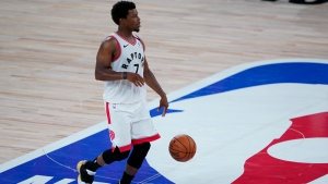 Toronto Raptors' Kyle Lowry (7) plays against the Los Angeles Lakers during the second half of an NBA basketball game Saturday, Aug. 1, 2020, in Lake Buena Vista, Fla. (AP Photo/Ashley Landis, Pool)