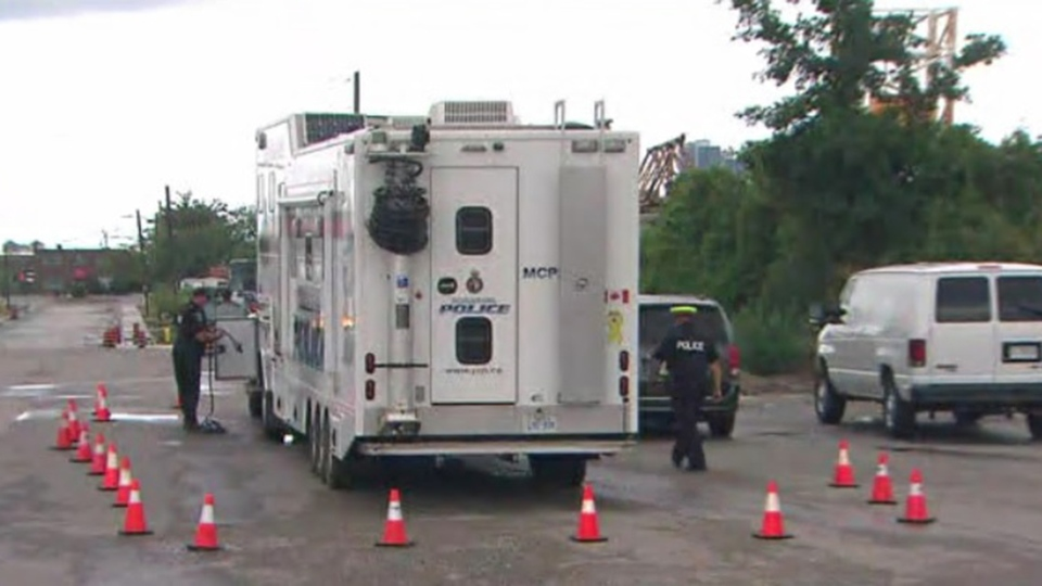 A YRP command post is shown after a homicide in an industrial area of Vaughan on Aug. 2, 2020. (CP24)