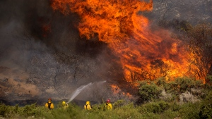 Firefighters work against the Apple Fire near Banning, Calif., Sunday, Aug. 2, 2020. (AP Photo/Ringo H.W. Chiu)