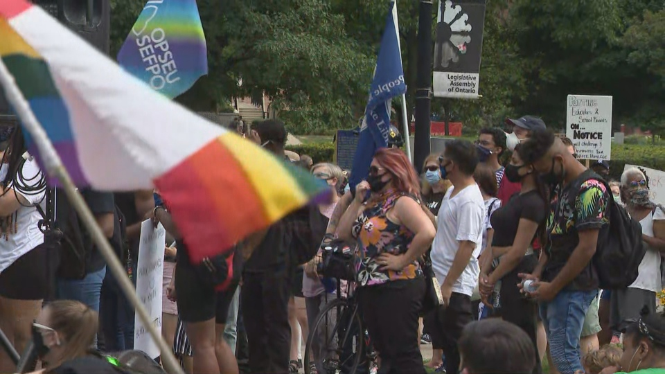 Protesters gathered at Queen's Park to demand the end of systemic anti-Black racism in schools.