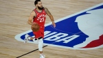 Toronto Raptors' Fred VanVleet (23) moves the ball up court against the Miami Heat during the first half of an NBA basketball game Monday, Aug. 3, 2020, in Lake Buena Vista, Fla. (AP Photo/Ashley Landis, Pool)