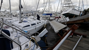 Boats are piled on each other in the marina following the effects of Hurricane Isaias in Southport, N.C., Tuesday, Aug. 4, 2020. (AP Photo/Gerry Broome)