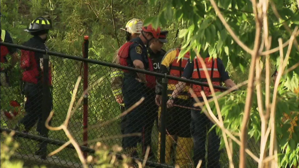 A man is missing after reportedly being swept into a pond in Richmond Hill on Tuesday. (Corey Baird/CTV News Toronto)