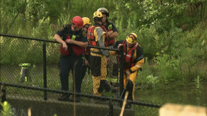 York Regional Police are still searching for one of two men who were swept into a pond in Richmond Hill Tuesday night. (Corey Baird/ CTV News Toronto)