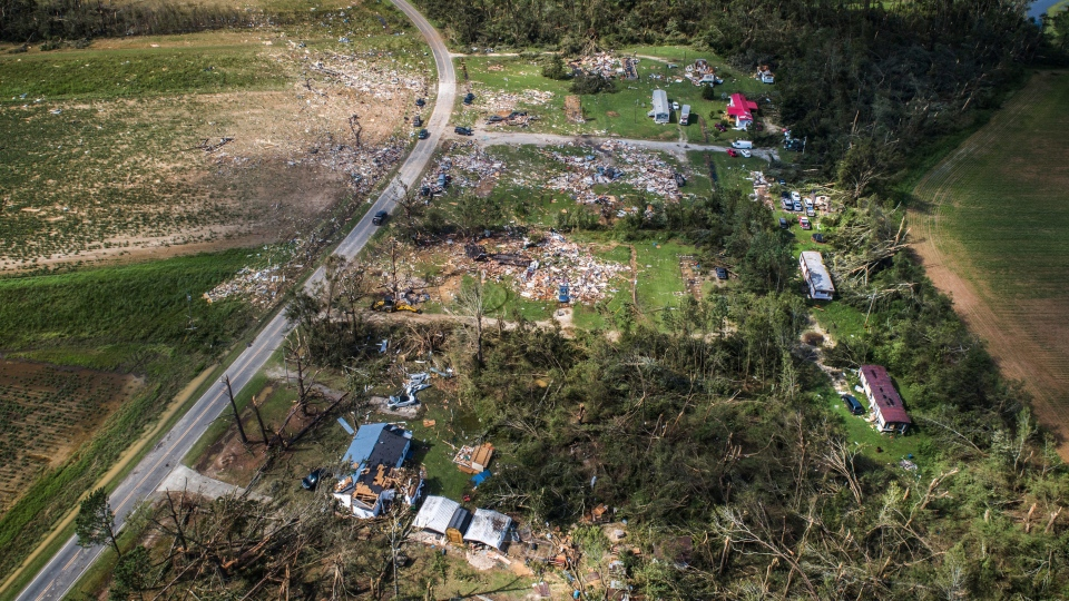 A view from a drone shows the destruction at a mobile home park near Windsor, N.C., that was hit by a tornado spawned by Isaias, Tuesday, Aug. 4, 2020. Two people were killed. (Julia Wall/The News & Observer via AP)