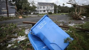 Debris and damage after a tornado ripped through Marmora, N.J. during Tropical Storm Isaias on Tuesday, August 4, 2020. (David Maialetti/The Philadelphia Inquirer via AP)