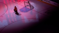 Chicago Blackhawks goaltender Corey Crawford (50) stands prior to taking on the Edmonton Oilers in NHL Stanley Cup qualifying round action in Edmonton, Wednesday, Aug. 5, 2020. THE CANADIAN PRESS/Codie McLachlan