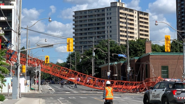 A crane has collapsed at the intersection of River and Dundas streets. (Twitter/ @cornsomething)