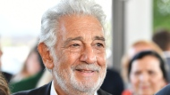 Opera tenor Placido Domingo arrives on the red carpet prior to the Austria's Music Prize award ceremony at the airport in Salzburg, Austria, Thursday, Aug. 6, 2020. The famed tenor will receive a lifetime achievement award at the event. (AP Photo/Kerstin Joensson)