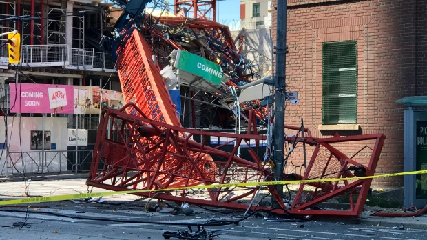 The intersection of River and Dundas streets is currently closed after a stationary crane fell in a construction site just after 10:30 a.m., police said.