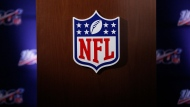 FILE - In this Wednesday, May 22, 2019, file photo, the NFL logo is seen during the NFL football owners meeting in Key Biscayne, Fla. (AP Photo/Brynn Anderson, File)