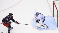 Columbus Blue Jackets centre Pierre-Luc Dubois (18) scores the winning goal past Toronto Maple Leafs goaltender Frederik Andersen (31) during overtime NHL Eastern Conference Stanley Cup playoff action in Toronto on Thursday, August 6, 2020. THE CANADIAN PRESS/Nathan Denette