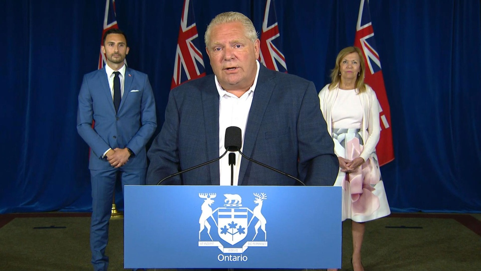 Premier Doug Ford speaks at a news conference Friday August 7, 2020.