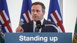 The Alberta government says it plans to join three other provinces in exploring small-scale nuclear technology. Alberta Premier Jason Kenney comments on the Teck mine decision in Edmonton on Monday, Feb. 24, 2020. THE CANADIAN PRESS/Jason Franson