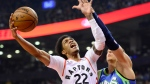Toronto Raptors guard Patrick McCaw (22) goes up for a shot as Dallas Mavericks forward Kristaps Porzingis (6) defends during first half NBA basketball action in Toronto, Sunday, Dec. 22, 2019. THE CANADIAN PRESS/Frank Gunn