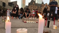 A candlelight vigil is held at Nathan Phillips Square for the victims of the Beirut blast. (Craig Wadman)