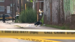 A laneway off Ossington Avenue is taped off after a fatal stabbing on Aug. 9, 2020. (CP24)