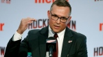 In this April 19, 2019, file photo, Steve Yzerman answers a question during an NHL hockey news conference where he was introduced as the new executive vice president and general manager of the Detroit Red Wings, in Detroit. The Detroit Red Wings desperately hope to win the NHL draft lottery, giving them the first shot to perhaps select Canadian winger Alexis Lafreniere. (AP Photo/Carlos Osorio, File)