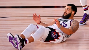 Toronto Raptors' Fred VanVleet reacts after scoring a basket and drawing the foul during the second quarter of an NBA basketball game against the Memphis Grizzlies, Sunday, Aug. 9, 2020, in Lake Buena Vista, Fla. (Kevin C. Cox/Pool Photo via AP)