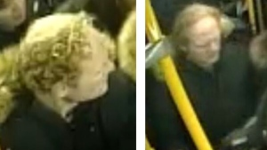 A suspect wanted in an assault aboard a TTC bus on Feb. 4, 2020 is shown in surveillance camera images.