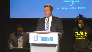 Mayor John Tory announces $2 million in funding to support Black professionals in Toronto's music industry on Monday, Aug. 8.