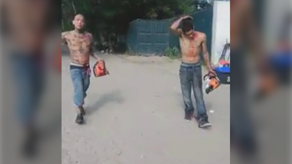 Two men are pictured with chainsaws in the area of Toronto's Cherry Beach Sunday August 9, 2020 in this image from Facebook. (Facebook/David Sullivan)