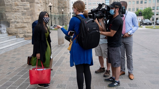 Diversity and Inclusion and Youth Minister Bardish Chagger  speaks with reporters following a sitting of the Special Committee on the COVID-19 Pandemic Wednesday July 22, 2020 in Ottawa. THE CANADIAN PRESS/Adrian Wyld