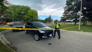 A vehicle involved in a pedestrian collision in Etobicoke where a three-year-old child died is shown on Aug. 11, 2020.