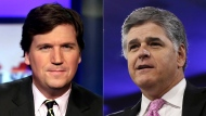 "This combination photo shows, Tucker Carlson, host of ""Tucker Carlson Tonight,"" left, and Sean Hannity, host of ""Hannity"" on Fox News. The Fox News and Fox Business channels are going international. A digital streaming service with the pair will launch in Mexico this month, expanding to Spain, Germany and the United Kingdom in September. (AP Photo)"