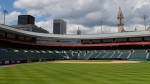 In this July 24, 2020, file photo, Sahlen Field, home of the Toronto Blue Jays' Triple-A affiliate, in Buffalo, N.Y., is viewed. The Blue Jays will walk onto the field Tuesday, Aug. 11, 2020, as the host team for the first time in 2020. (AP Photo/Jeffrey T. Barnes, File)