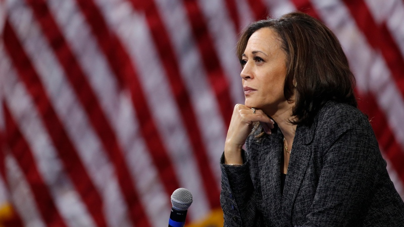 In this Oct. 2, 2019, file photo, then -Democratic presidential candidate Sen. Kamala Harris, D-Calif., listens during a gun safety forum in Las Vegas. Democratic presidential candidate former Vice President Joe Biden has chosen Harris as his running mate. (AP Photo/John Locher, File)