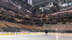 Fresh surfaced ice at Scotiabank Arena, home of the Toronto Maple Leafs, is shown in Toronto on March 12, 2020. THE CANADIAN PRESS/Joshua Clipperton