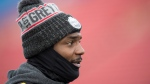 Hamilton Tiger-Cats Delvin Breaux is seen during a practice prior to the 107th Grey Cup in Calgary, Saturday, Nov. 23, 2019. THE CANADIAN PRESS/Nathan Denette