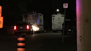 Police command vehicles are seen on Goodman Crescent in Maple on Aug. 11, 2020. (Mike Nguyen/CP24)