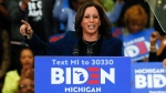 """In this March 9, 2020, file photo, Sen. Kamala Harris, D-Calif., speaks at a campaign rally for Democratic presidential candidate former Vice President Joe Biden at Renaissance High School in Detroit. Before Joe Biden named Harris his running mate, women's groups were readying a campaign of their own: Shutting down sexist coverage and disinformation about a vice presidential nominee they say is headed for months of false smears and """"brutal"""" attacks from internet haters.  (AP Photo/Paul Sancya, File)"""