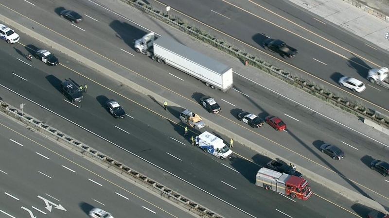 A driver is dead after a flying vehicle wheel struck their windshield on Highway 401 in Scarborough on Wednesday.