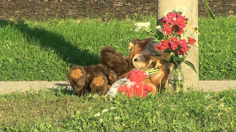 A memorial has been setup for a three-year-old boy struck and killed in a collision on Tuesday in Etobicoke.