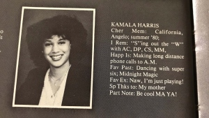Kamala Harris, now a U.S. Senator, is seen in a high school yearbook entry from the 1981 Westmount Secondary School, in Montreal on September 20, 2017. THE CANADIAN PRESS/Stephane Blais
