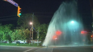 A car crashed into a fire hydrant in North York this morning resulting in a geyser in the area.
