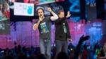 "Craig Kielburger and Marc Kielburger speak during ""We Day"" in Toronto on Thursday, Oct. 2, 2014. THE CANADIAN PRESS/Hannah Yoon"