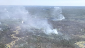 Crews have made progress on a wildfire that has forced the evacuation of residents in Red Lake, Ont. (Handout/Ontario Ministry of Natural Resources and Forestry)
