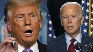 President Donald Trump on Thursday attacked Joe Biden for calling on governors to mandate that all Americans wear masks for the next three months. (AP Photo/Carolyn Kaster/Andrew Harnik)