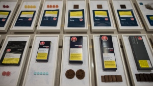 Health Canada is warning people to do more to keep edible pot products out of the hands of kids. A variety of cannabis edibles are displayed at the Ontario Cannabis Store in Toronto on Friday, Jan. 3, 2020. THE CANADIAN PRESS/ Tijana Martin