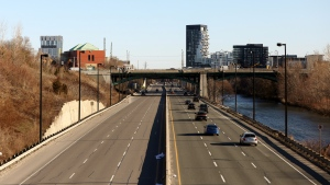 Toronto's normally jammed Don Valley Parkway is seen during the evening rush on Thursday, April 2, 2020. THE CANADIAN PRESS/Colin Perkel