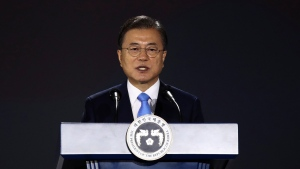 South Korean President Moon Jae-in speaks during the celebration of 75th anniversary of the Liberation Day at Dongdaemun Design Plaza in Seoul Saturday, Aug. 15, 2020. (Chung Sung-jun/Pool Photo via AP)