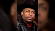 FILE - Jam Master Jay, a.k.a. Jason Mizell, a member of hip hop pioneers Run-DMC, is seen in Los Angeles in this Feb. 25, 2002, file photo. (AP Photo/Krista Niles, File)